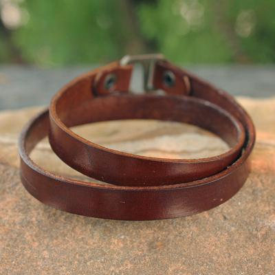 Men's leather wrap bracelet, 'Enigma in Brown' - Men's Artisan Crafted Leather Wrap Bracelet from Thailand