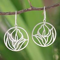 Sterling silver flower earrings, 'Anthurium' - Sterling silver flower earrings