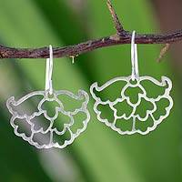 Sterling silver flower earrings, 'Peony' - Sterling silver flower earrings