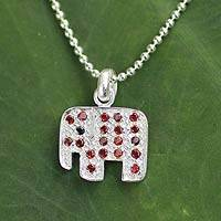 Garnet pendant necklace, 'Enamored Elephant - Sterling Silver and Garnet Pendant Necklace