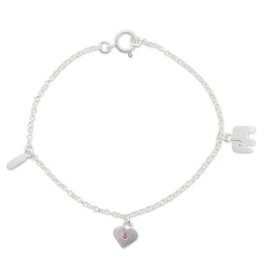 Tourmaline charm bracelet, 'I Love Elephants' - Tourmaline charm bracelet