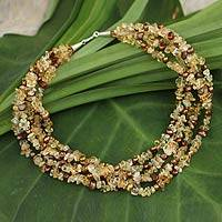 Cultured pearl and citrine beaded necklace, 'Opulent Honey' - Cultured pearl and citrine beaded necklace