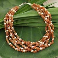 Cultured pearl and aventurine beaded necklace, 'Opulent Peach' - Cultured pearl and aventurine beaded necklace