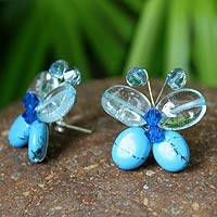 Beaded button earrings, 'Exotic Butterfly'