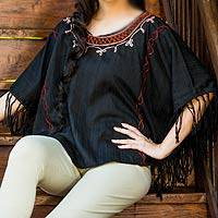 Cotton tunic, 'Exotic Black Butterfly'