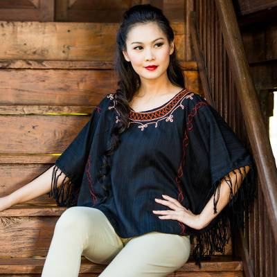 Cotton tunic, 'Exotic Black Butterfly' - Cotton tunic