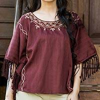 Cotton tunic, 'Exotic Brown Butterfly' - Handmade Cotton Blouse