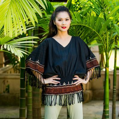 Cotton blouse, 'Black Thai Butterfly' - Cotton blouse