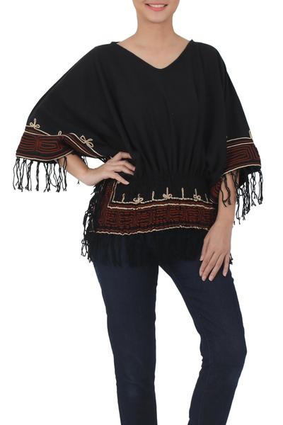 Cotton blouse, 'Black Thai Butterfly' - Cotton blouse