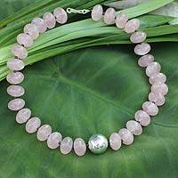Rose quartz beaded necklace, 'Rose of Thailand'