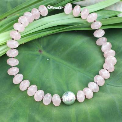 Rose quartz beaded necklace, 'Rose of Thailand' - Beaded Rose Quartz Necklace