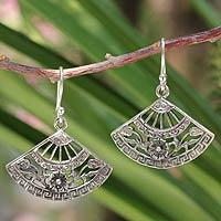 Sterling silver dangle earrings, 'Chiang Mai Breeze' - Floral Sterling Silver Dangle Earrings