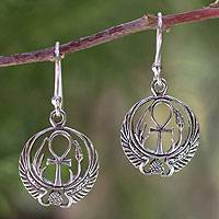 Sterling silver dangle earrings, 'Eternity's Key'