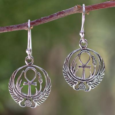 Sterling silver dangle earrings, 'Eternity's Key' - Sterling silver dangle earrings