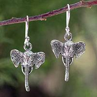 Sterling silver dangle earrings, 'Elephant Guardian' - Sterling silver dangle earrings