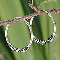 Sterling silver hoop earrings, 'Traditional Thai'
