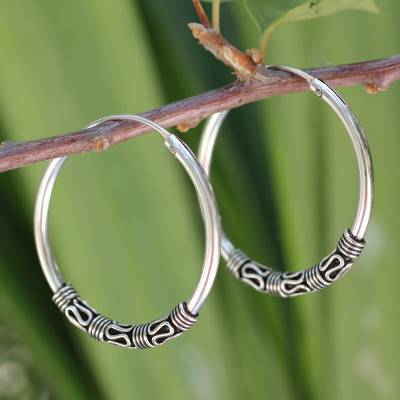 Sterling silver hoop earrings, 'Traditional Thai' - Fair Trade Sterling Silver Hoop Earrings