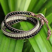 Agate wrap bracelet, 'Midnight River' - Agate wrap bracelet