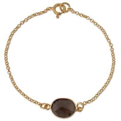 Gold vermeil smoky quartz pendant bracelet
