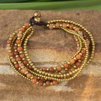 Beaded brass bracelet, 'Sunrise Joy' - Brass Beaded Quartz Bracelet