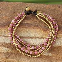 Beaded brass bracelet, 'Rose Joy' - Artisan Crafted Brass and Quartz Bracelet