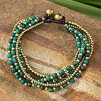 Beaded brass bracelet, 'Evergreen Joy'