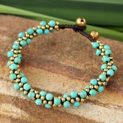 Beaded brass bracelet, 'Bells in the Sky' - Brass and Dyed Calcite Bracelet