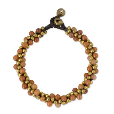 Beaded brass bracelet, 'Bells at Sunset' - Beaded brass bracelet