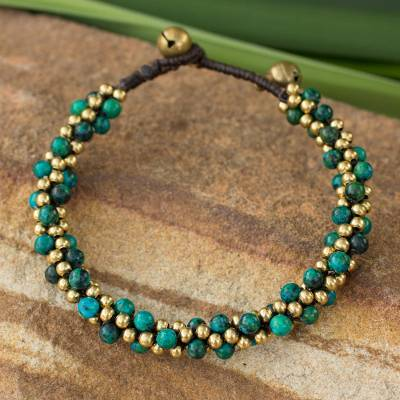 Beaded brass bracelet, 'Bells in the Sea' - Brass and Serpentine Beaded Bracelet