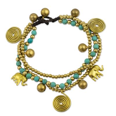 Brass charm bracelet, 'Blue Siam Elephants' - Hand Crafted Brass Charm Bracelet from Thailand