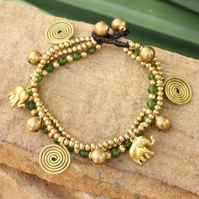 Brass charm bracelet, 'Green Siam Elephants' - Unique Brass and Quartz Beaded Bracelet