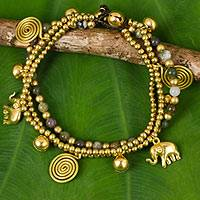 Jasper charm bracelet, 'Colorful Siam Elephants' - Jasper and Brass Elephant Charm Bracelet