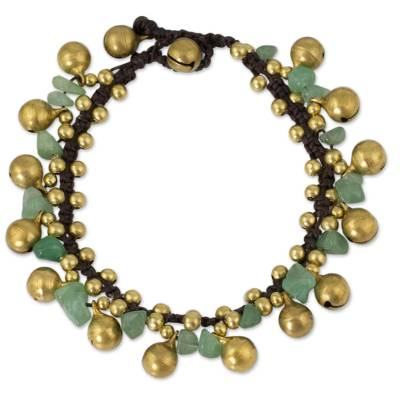 Aventurine beaded bracelet, 'Joyous Bells' - Brass Beaded Aventurine Bracelet