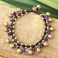 Amethyst beaded bracelet, 'Joyous Bells' - Amethyst and Brass Beaded Bracelet from Thailand