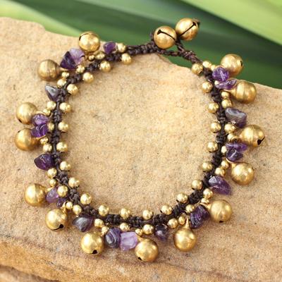 Amethyst beaded bracelet, 'Joyous Bells' - Brass Beaded Amethyst Bracelet