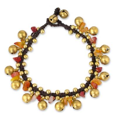 Carnelian beaded bracelet, 'Joyous Bells' - Brass Beaded Carnelian Bracelet from Thailand