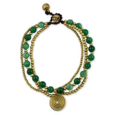 Aventurine beaded wristband, 'Daydreams' - Brass Beaded Aventurine Bracelet from Thailand