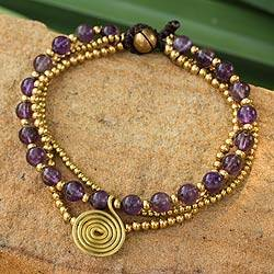 Amethyst beaded wristband, Daydreams