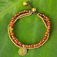 Carnelian beaded wristband, 'Daydreams' - Handmade Bohemian Brass and Carnelian Beaded Bracelet