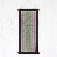 Cotton wall hanging, 'Enchanted Green Garden' - Cotton wall hanging