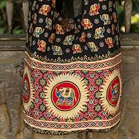 Cotton shoulder bag, 'Black Thai Universe' - Cotton Elephants Shoulder Bag