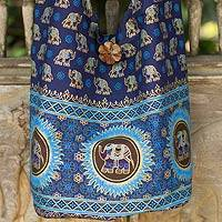 Cotton shoulder bag, 'Blue Thai Universe'