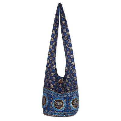 Cotton shoulder bag, 'Blue Thai Universe' - Cotton shoulder bag