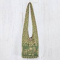 Cotton shoulder bag, 'Green Siam' - Elephants Cotton Shoulder Bag Handmade in Thailand