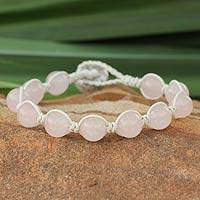 Leather and rose quartz beaded bracelet, 'Orbs of Romance' - Leather and rose quartz beaded bracelet