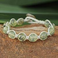 Leather and prehnite beaded bracelet, 'Orbs of Unconditional Love' - Prehnite and Leather Beaded Bracelet