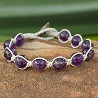 Leather and amethyst beaded bracelet, 'Orbs of Wisdom'