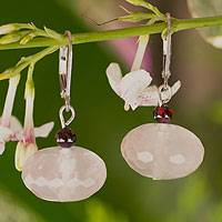 Rose quartz dangle earrings, 'Rose of Thailand' - Fair Trade Rose Quartz Dangle Earrings