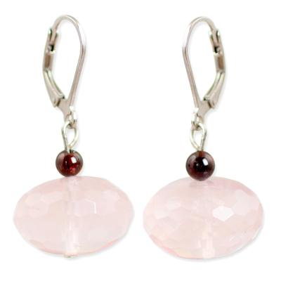 Rose quartz dangle earrings, 'Rose of Thailand' - Fair Trade Rose Quartz Dangle Earrings