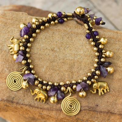 Amethyst charm bracelet, 'Splendor of Siam' - Hand Crafted Brass and Amethyst Elephant Charm Bracelet